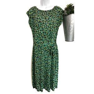 Boden | Green & Navy Polka Dot Midi Dress
